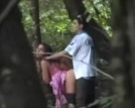 Slut caught in the woods