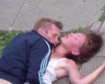 Couple caught on playground
