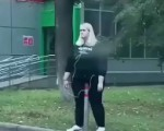 Russian chick rides pole