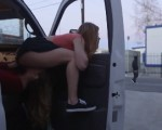2 girls caught in a truck