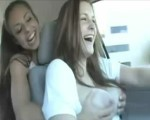 Grabbing friends tits in the car