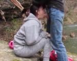 Hard throatfuck at the river