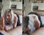 Blonde swallows big pole