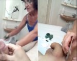 Waxing lady shocked by cum