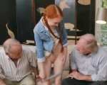 Old pervs with tiny redhead